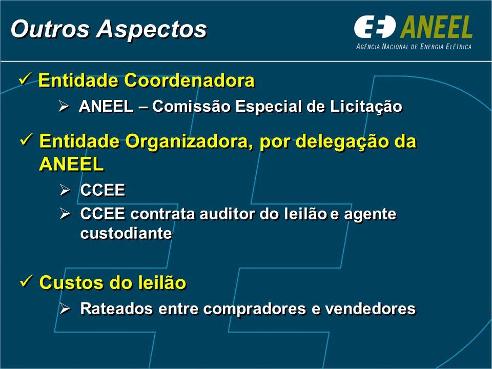 Entidade Coordenadora ANEEL – Comissão Especial de Licitação Entidade Coordenadora ANEEL – Comissão Especial de Licitação Outros Aspectos Entidade Org