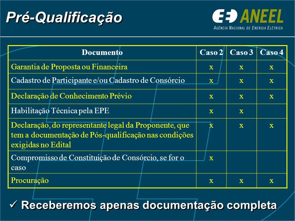 Pré-Qualificação DocumentoCaso 2Caso 3Caso 4 Garantia de Proposta ou Financeiraxxx Cadastro de Participante e/ou Cadastro de Consórcioxxx Declaração d