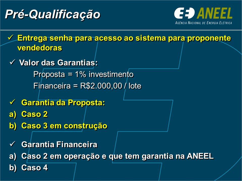 Pré-Qualificação Entrega senha para acesso ao sistema para proponente vendedoras Valor das Garantias: Proposta = 1% investimento Financeira = R$2.000,