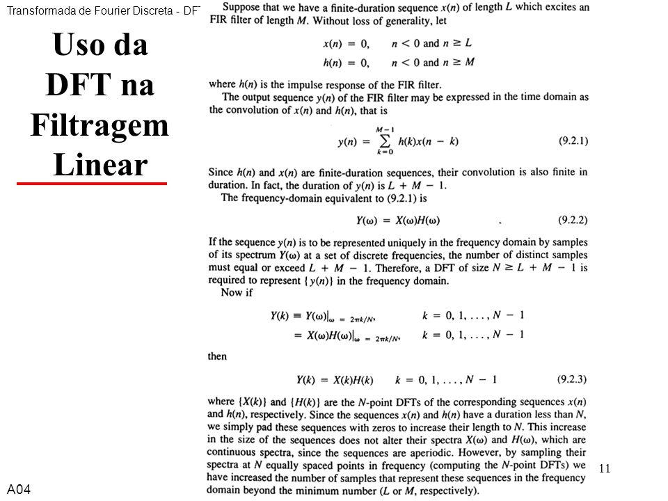 A411 Uso da DFT na Filtragem Linear Transformada de Fourier Discreta - DFT A04
