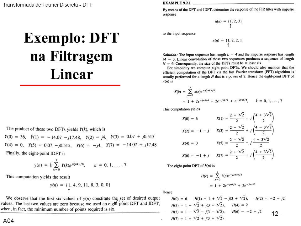 A412 Exemplo: DFT na Filtragem Linear Transformada de Fourier Discreta - DFT A04 12