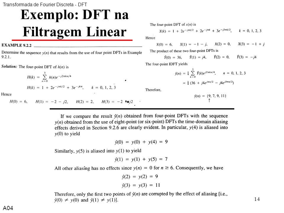 A414 Exemplo: DFT na Filtragem Linear Transformada de Fourier Discreta - DFT A04