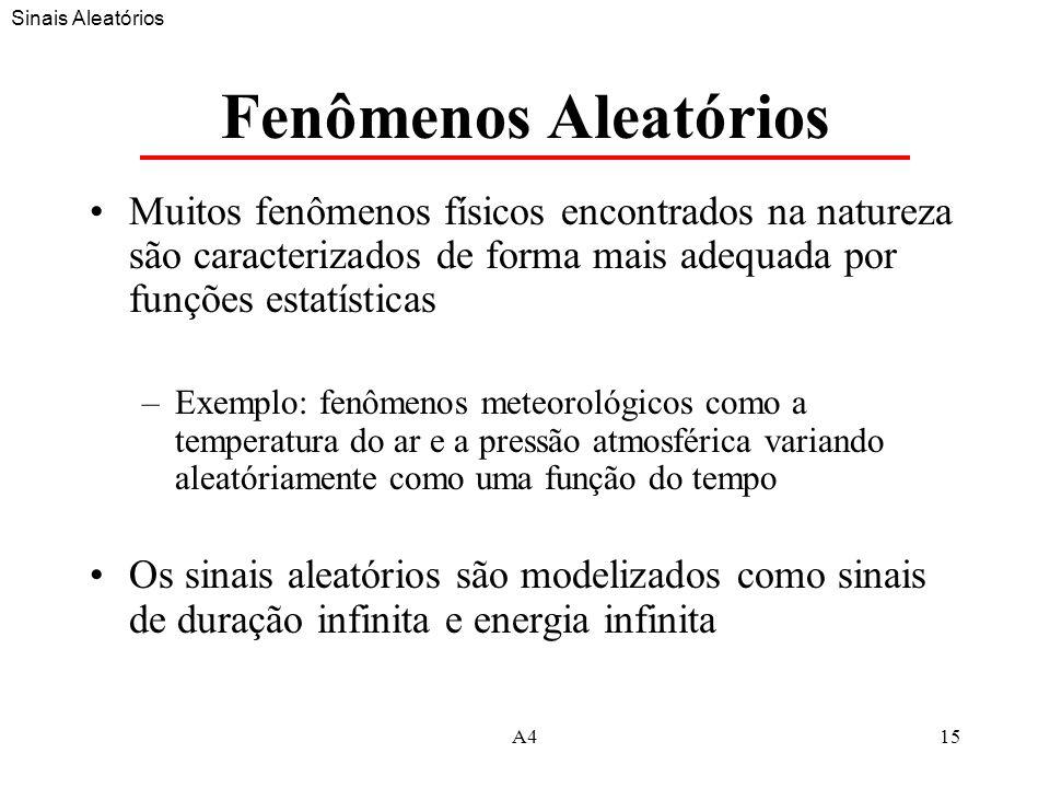 A415 Fenômenos Aleatórios Muitos fenômenos físicos encontrados na natureza são caracterizados de forma mais adequada por funções estatísticas –Exemplo: fenômenos meteorológicos como a temperatura do ar e a pressão atmosférica variando aleatóriamente como uma função do tempo Os sinais aleatórios são modelizados como sinais de duração infinita e energia infinita Sinais Aleatórios