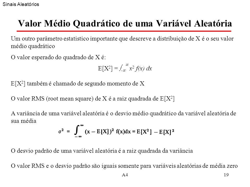 A419 Valor Médio Quadrático de uma Variável Aleatória Um outro parâmetro estatistico importante que descreve a distribuição de X é o seu valor médio quadrático O valor esperado do quadrado de X é: E[X 2 ] = - x 2 f(x) dx E[X 2 ] também é chamado de segundo momento de X O valor RMS (root mean square) de X é a raiz quadrada de E[X 2 ] A variância de uma variável aleatória é o desvio médio quadrático da variável aleatória de sua média O desvio padrão de uma variável aleatória é a raiz quadrada da variância O valor RMS e o desvio padrão são iguais somente para variáveis aleatórias de média zero Sinais Aleatórios