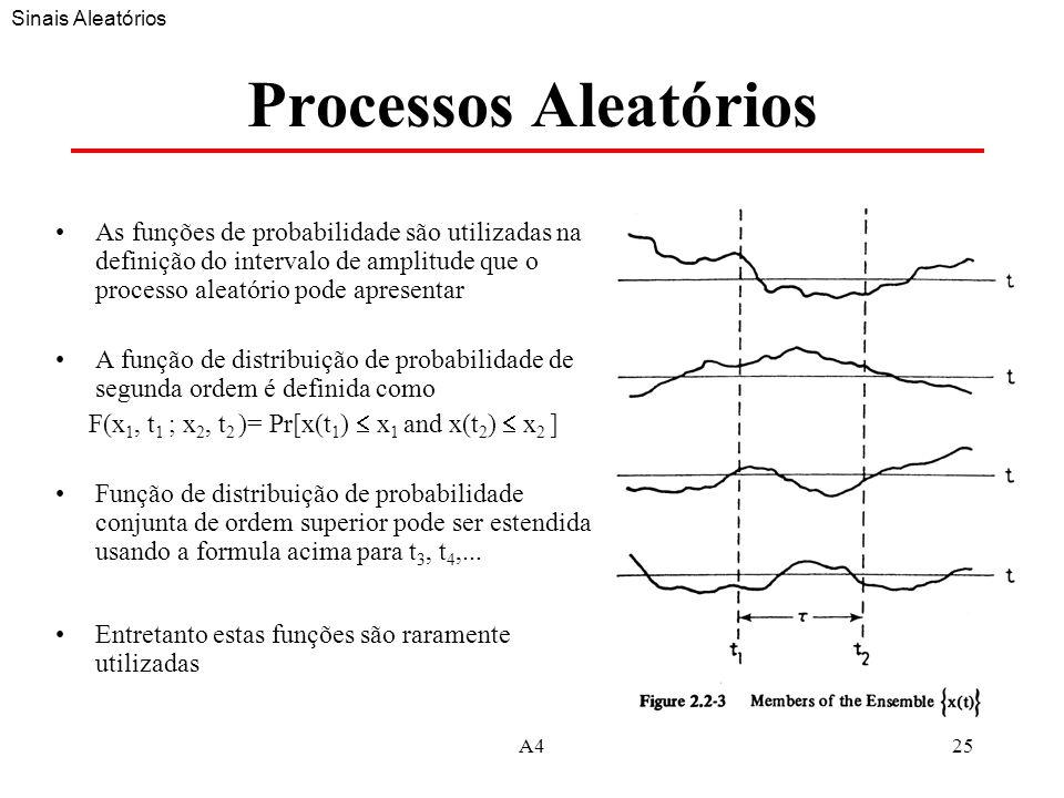 A425 Processos Aleatórios As funções de probabilidade são utilizadas na definição do intervalo de amplitude que o processo aleatório pode apresentar A função de distribuição de probabilidade de segunda ordem é definida como F(x 1, t 1 ; x 2, t 2 )= Pr[x(t 1 ) x 1 and x(t 2 ) x 2 ] Função de distribuição de probabilidade conjunta de ordem superior pode ser estendida usando a formula acima para t 3, t 4,...