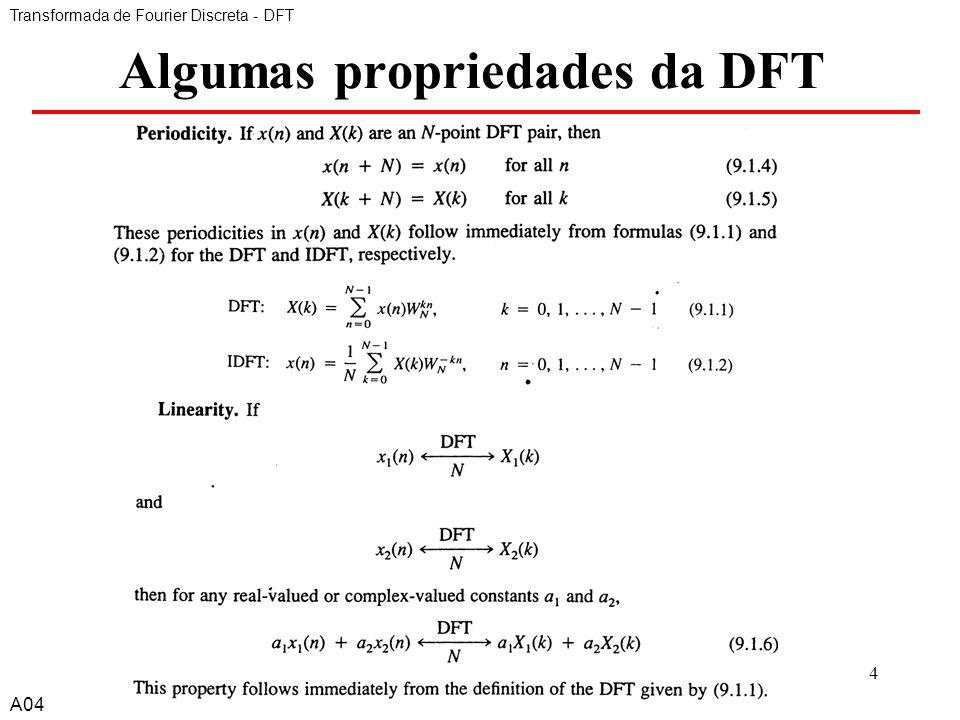 A44 Algumas propriedades da DFT Transformada de Fourier Discreta - DFT A04