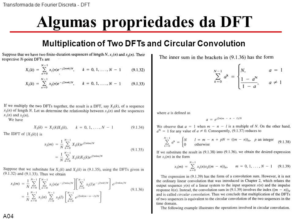 A46 Algumas propriedades da DFT Transformada de Fourier Discreta - DFT A04 Exemplo: Multiplication of Two DFTs and Circular Convolution 6