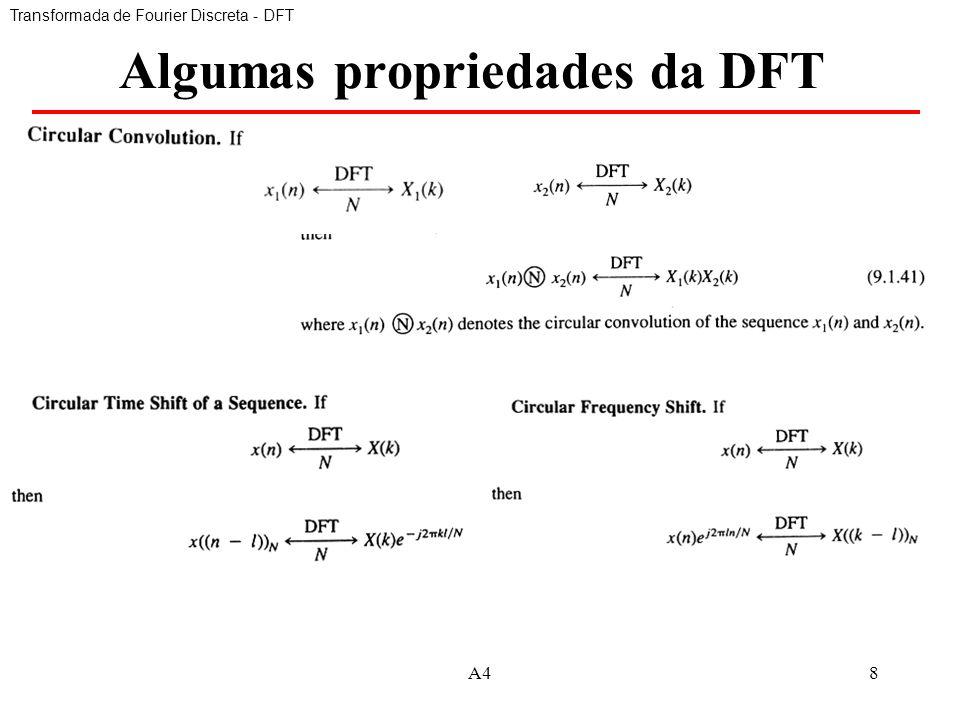 A48 Algumas propriedades da DFT Transformada de Fourier Discreta - DFT
