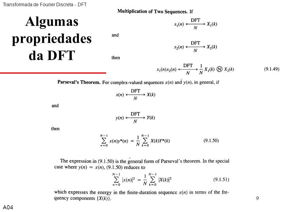 A49 Algumas propriedades da DFT Transformada de Fourier Discreta - DFT A04