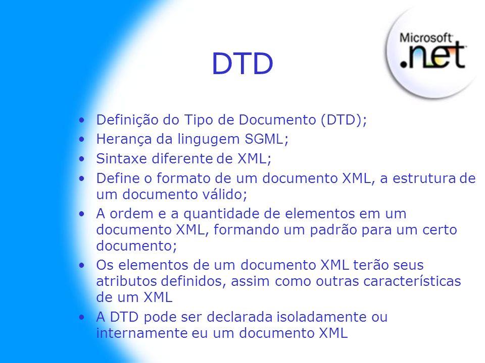 DTD Definição do Tipo de Documento (DTD); Herança da lingugem SGML ; Sintaxe diferente de XML; Define o formato de um documento XML, a estrutura de um