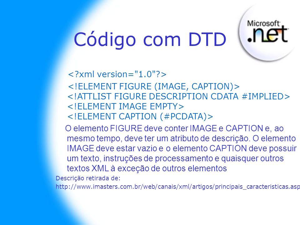 Código com DTD O elemento FIGURE deve conter IMAGE e CAPTION e, ao mesmo tempo, deve ter um atributo de descrição. O elemento IMAGE deve estar vazio e