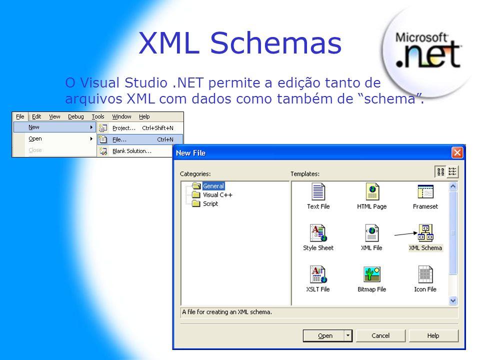 XML Schemas O Visual Studio.NET permite a edição tanto de arquivos XML com dados como também de schema.
