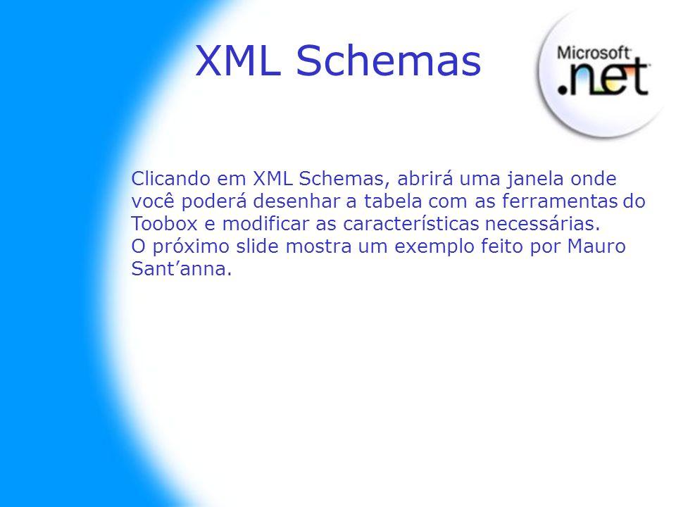 XML Schemas Clicando em XML Schemas, abrirá uma janela onde você poderá desenhar a tabela com as ferramentas do Toobox e modificar as características