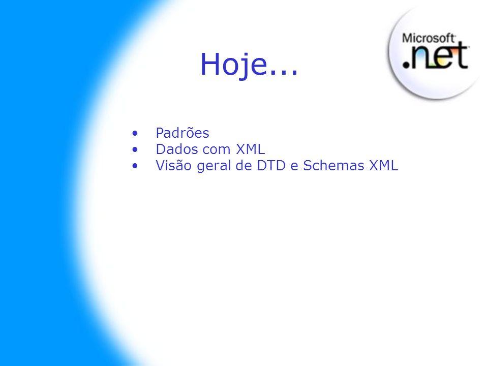 Hoje... Padrões Dados com XML Visão geral de DTD e Schemas XML