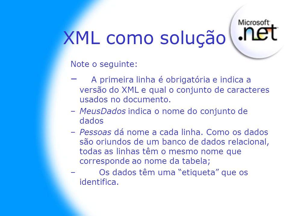 Note o seguinte: – A primeira linha é obrigatória e indica a versão do XML e qual o conjunto de caracteres usados no documento. –MeusDados indica o no