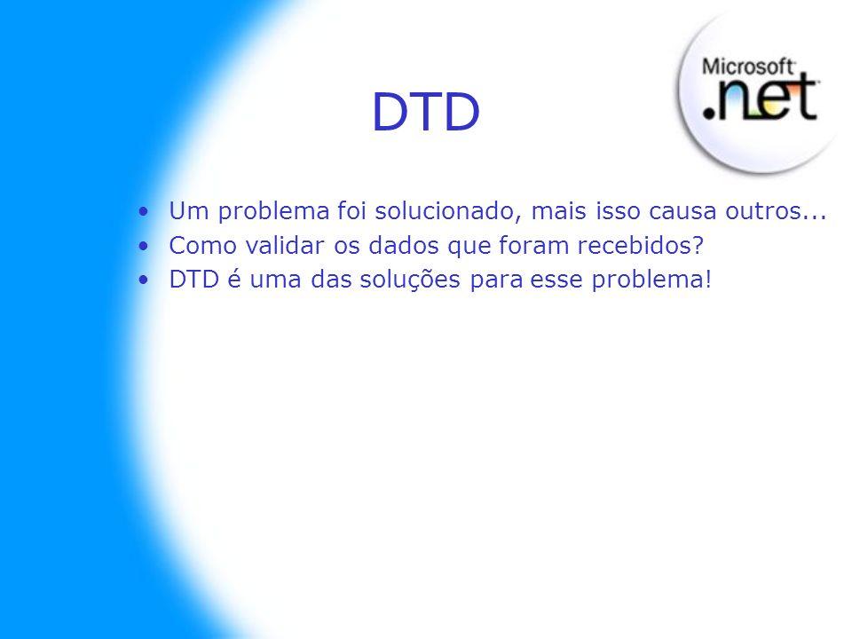 DTD Um problema foi solucionado, mais isso causa outros... Como validar os dados que foram recebidos? DTD é uma das soluções para esse problema!