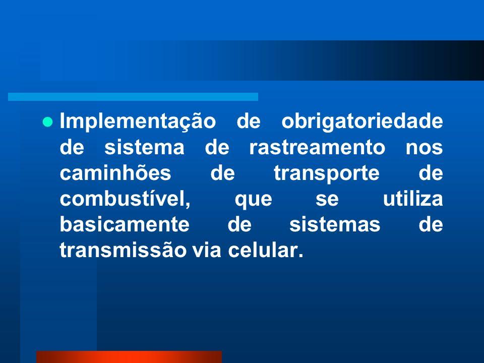 Implementação de obrigatoriedade de sistema de rastreamento nos caminhões de transporte de combustível, que se utiliza basicamente de sistemas de tran