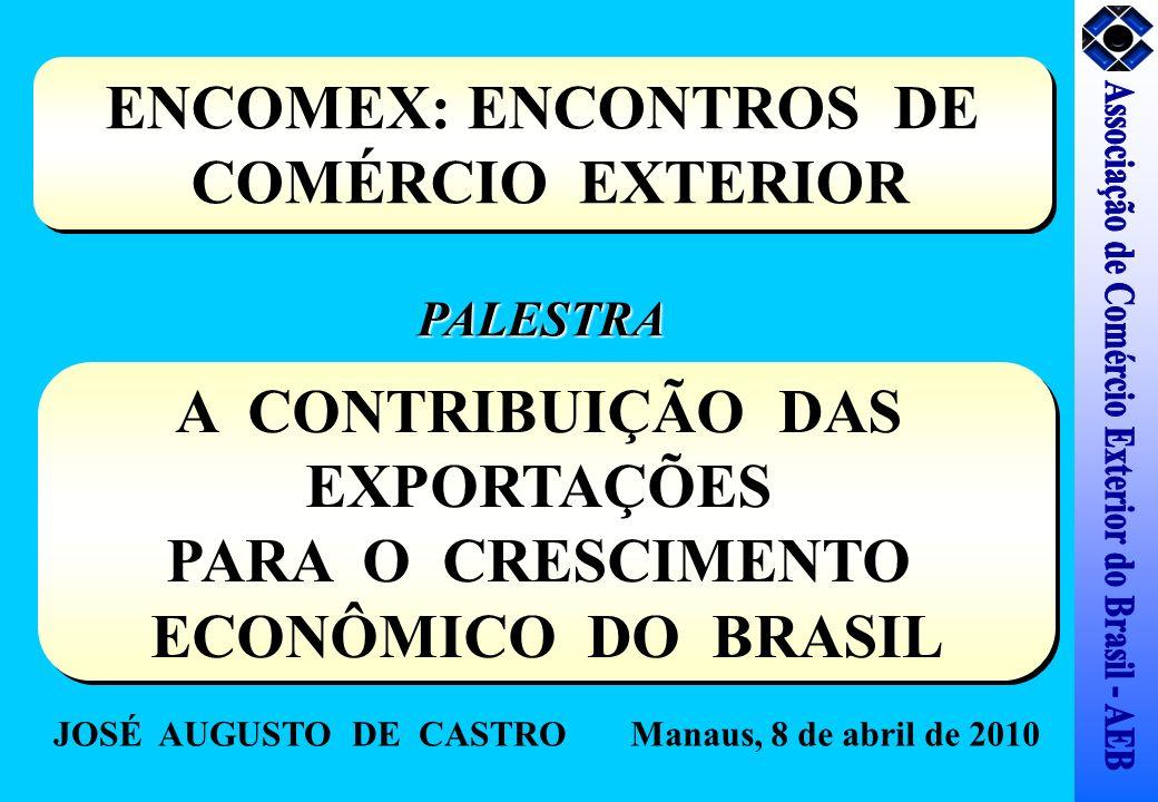 ENCOMEX: ENCONTROS DE COMÉRCIO EXTERIOR ENCOMEX: ENCONTROS DE COMÉRCIO EXTERIOR A CONTRIBUIÇÃO DAS EXPORTAÇÕES PARA O CRESCIMENTO ECONÔMICO DO BRASIL