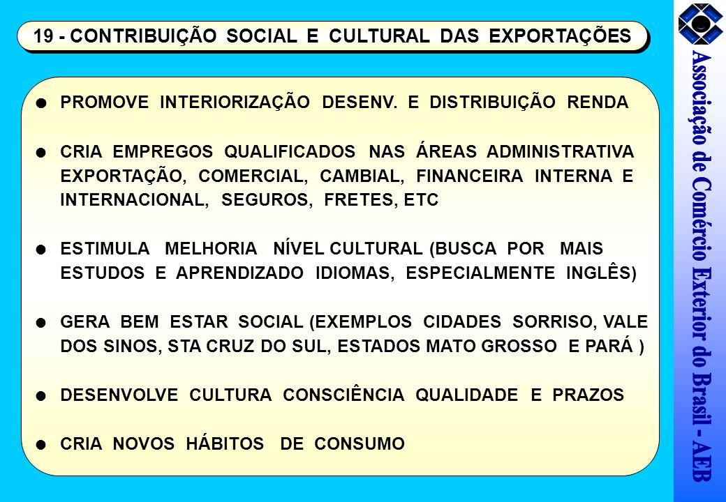 19 - CONTRIBUIÇÃO SOCIAL E CULTURAL DAS EXPORTAÇÕES PROMOVE INTERIORIZAÇÃO DESENV. E DISTRIBUIÇÃO RENDA CRIA EMPREGOS QUALIFICADOS NAS ÁREAS ADMINISTR