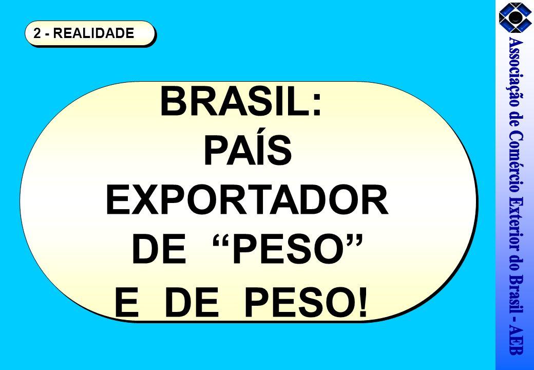 BRASIL: PAÍS EXPORTADOR DE PESO E DE PESO! BRASIL: PAÍS EXPORTADOR DE PESO E DE PESO! 2 - REALIDADE