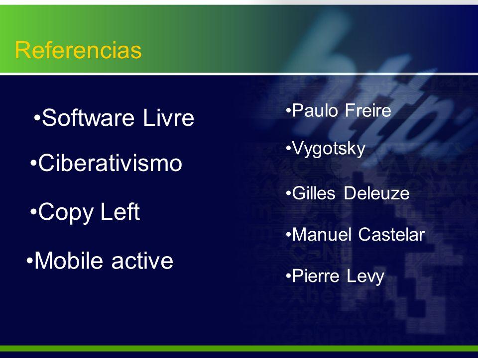 Referencias Copy Left Software Livre Mobile active Ciberativismo Manuel Castelar Pierre Levy Vygotsky Paulo Freire Gilles Deleuze