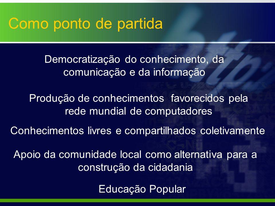 Como ponto de partida Educação Popular Conhecimentos livres e compartilhados coletivamente Produção de conhecimentos favorecidos pela rede mundial de
