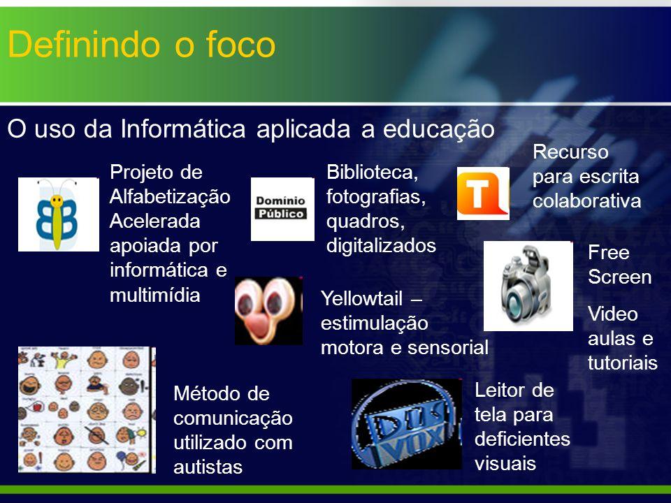 Definindo o foco O uso da Informática aplicada a educação Recurso para escrita colaborativa Biblioteca, fotografias, quadros, digitalizados Projeto de