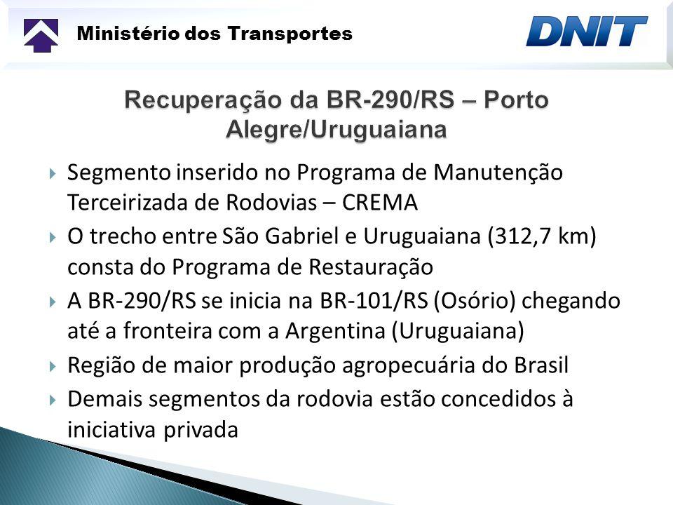 Ministério dos Transportes 85 km da BR-392/RS no trecho entre Rio Grande e Pelotas Dois subtrechos: Contorno de Pelotas, com 25 km - Projeto Executivo em fase final de elaboração Do km 8 ao 60: - Obra contratada, ordem de início em 18 setembro de 2009