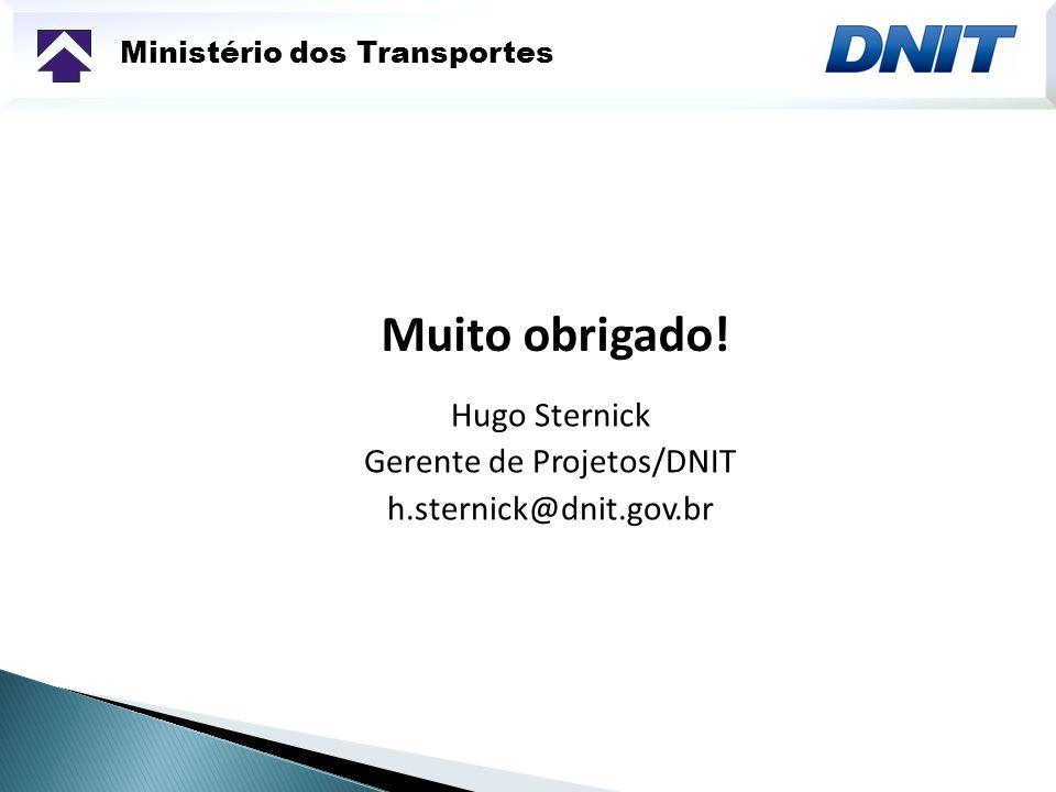 Ministério dos Transportes Muito obrigado! Hugo Sternick Gerente de Projetos/DNIT h.sternick@dnit.gov.br