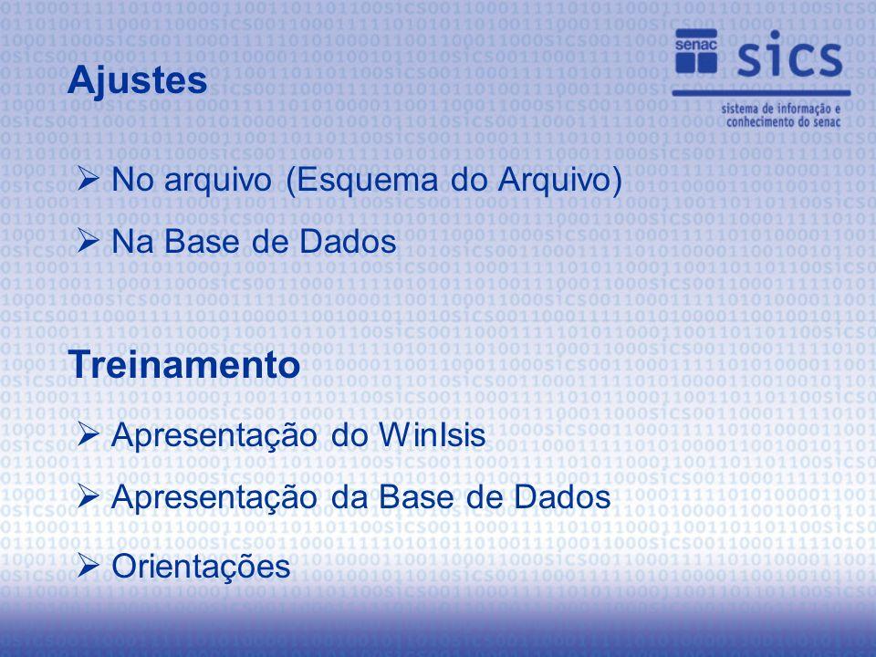 No arquivo (Esquema do Arquivo) Na Base de Dados Ajustes Treinamento Apresentação do WinIsis Apresentação da Base de Dados Orientações