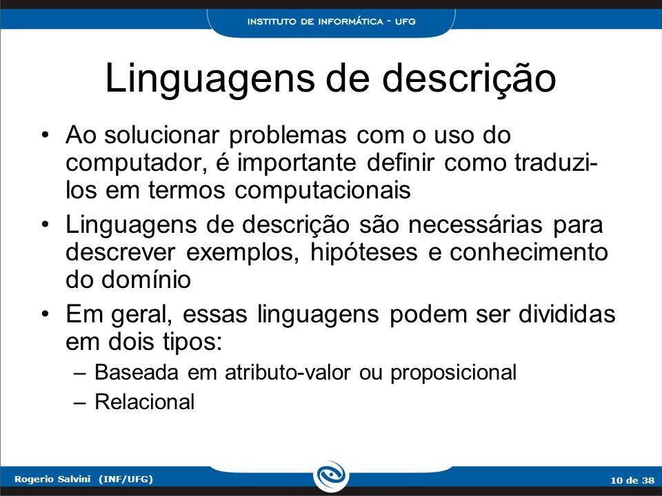 10 de 38 Rogerio Salvini (INF/UFG) Linguagens de descrição Ao solucionar problemas com o uso do computador, é importante definir como traduzi- los em