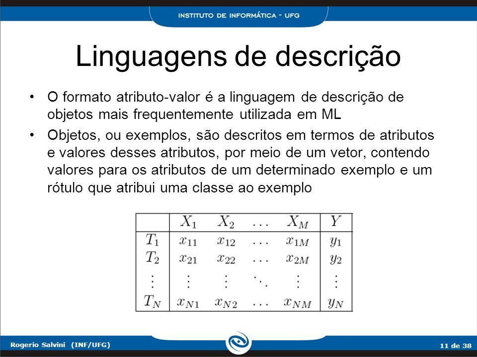 11 de 38 Rogerio Salvini (INF/UFG) Linguagens de descrição O formato atributo-valor é a linguagem de descrição de objetos mais frequentemente utilizad
