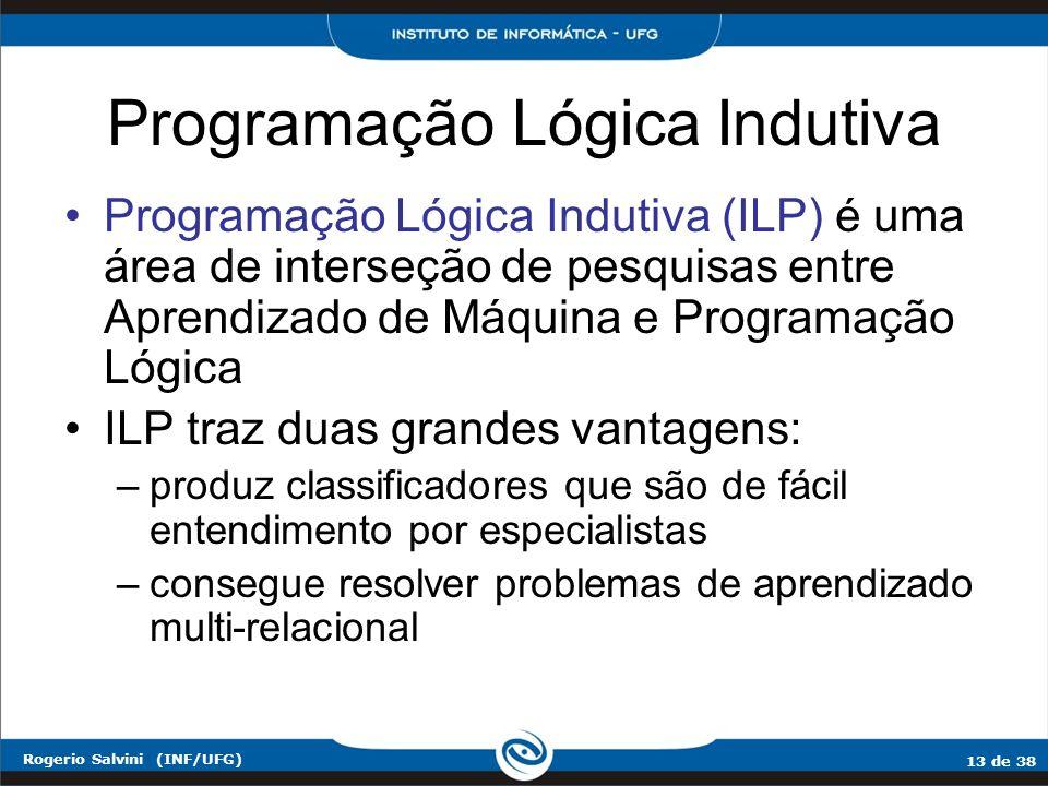 13 de 38 Rogerio Salvini (INF/UFG) Programação Lógica Indutiva Programação Lógica Indutiva (ILP) é uma área de interseção de pesquisas entre Aprendiza