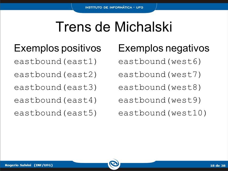 18 de 38 Rogerio Salvini (INF/UFG) Trens de Michalski Exemplos positivos eastbound(east1) eastbound(east2) eastbound(east3) eastbound(east4) eastbound