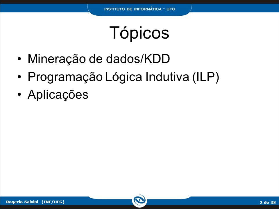 2 de 38 Rogerio Salvini (INF/UFG) Tópicos Mineração de dados/KDD Programação Lógica Indutiva (ILP) Aplicações