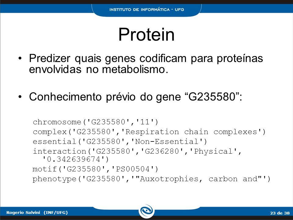 23 de 38 Rogerio Salvini (INF/UFG) Protein Predizer quais genes codificam para proteínas envolvidas no metabolismo. Conhecimento prévio do gene G23558