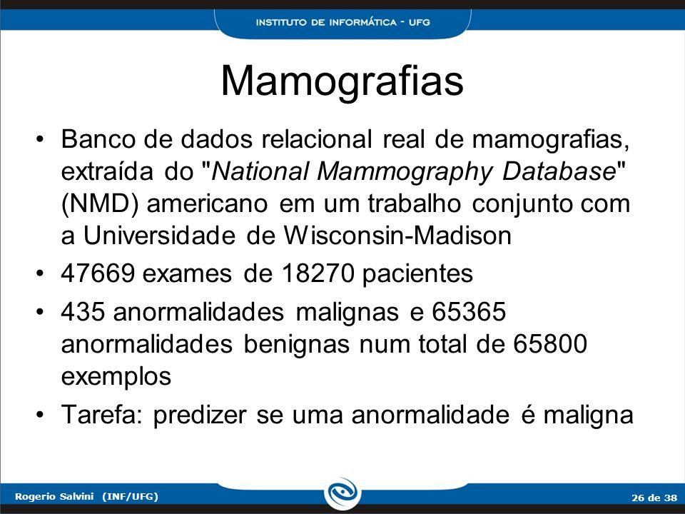 26 de 38 Rogerio Salvini (INF/UFG) Banco de dados relacional real de mamografias, extraída do