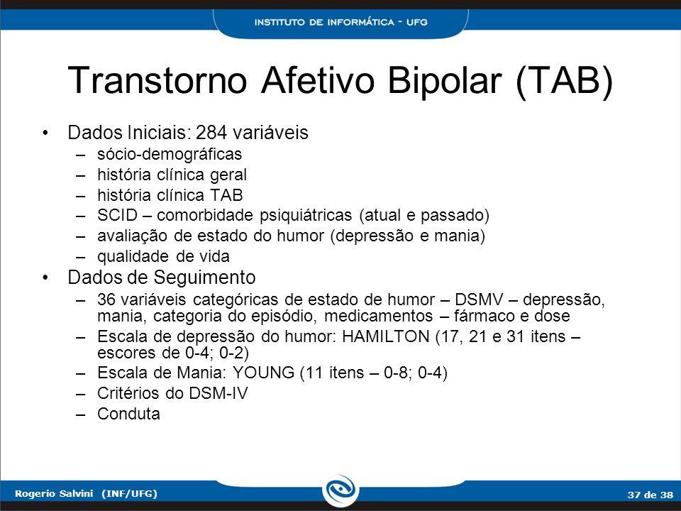 37 de 38 Rogerio Salvini (INF/UFG) Transtorno Afetivo Bipolar (TAB) Dados Iniciais: 284 variáveis –sócio-demográficas –história clínica geral –históri