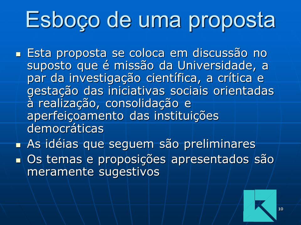 10 Esboço de uma proposta Esta proposta se coloca em discussão no suposto que é missão da Universidade, a par da investigação científica, a crítica e