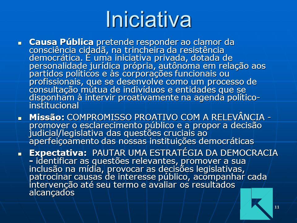 11Iniciativa Causa Pública pretende responder ao clamor da consciência cidadã, na trincheira da resistência democrática. É uma iniciativa privada, dot