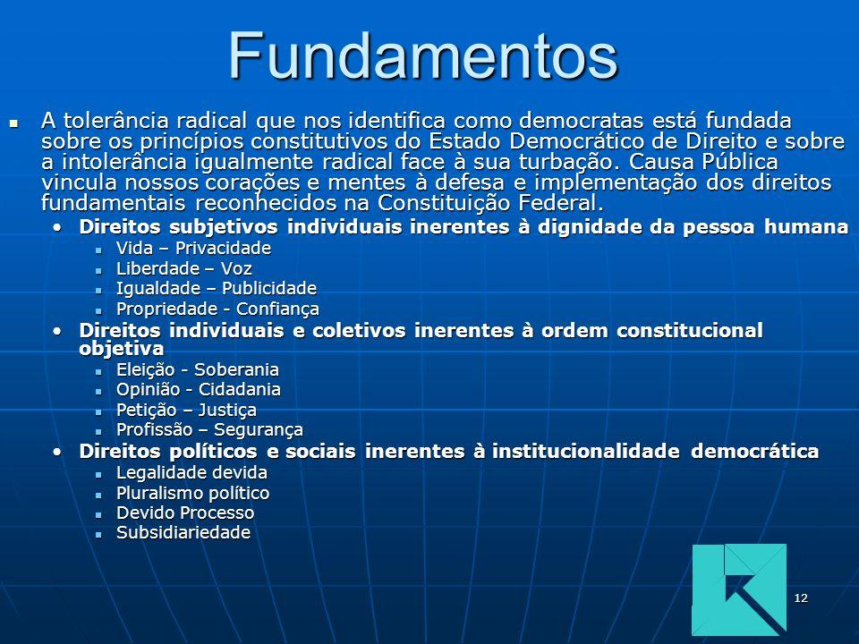 12Fundamentos A tolerância radical que nos identifica como democratas está fundada sobre os princípios constitutivos do Estado Democrático de Direito