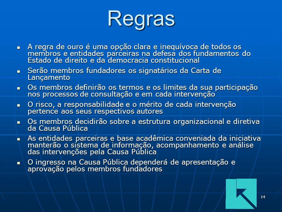 14Regras A regra de ouro é uma opção clara e inequívoca de todos os membros e entidades parceiras na defesa dos fundamentos do Estado de direito e da
