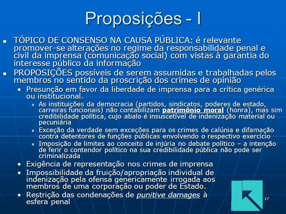 17 Proposições - I TÓPICO DE CONSENSO NA CAUSA PÚBLICA: é relevante promover-se alterações no regime da responsabilidade penal e civil da imprensa (co