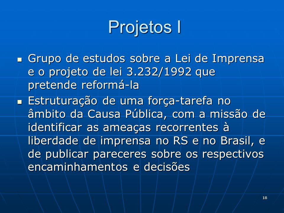 18 Projetos I Projetos I Grupo de estudos sobre a Lei de Imprensa e o projeto de lei 3.232/1992 que pretende reformá-la Grupo de estudos sobre a Lei de Imprensa e o projeto de lei 3.232/1992 que pretende reformá-la Estruturação de uma força-tarefa no âmbito da Causa Pública, com a missão de identificar as ameaças recorrentes à liberdade de imprensa no RS e no Brasil, e de publicar pareceres sobre os respectivos encaminhamentos e decisões Estruturação de uma força-tarefa no âmbito da Causa Pública, com a missão de identificar as ameaças recorrentes à liberdade de imprensa no RS e no Brasil, e de publicar pareceres sobre os respectivos encaminhamentos e decisões