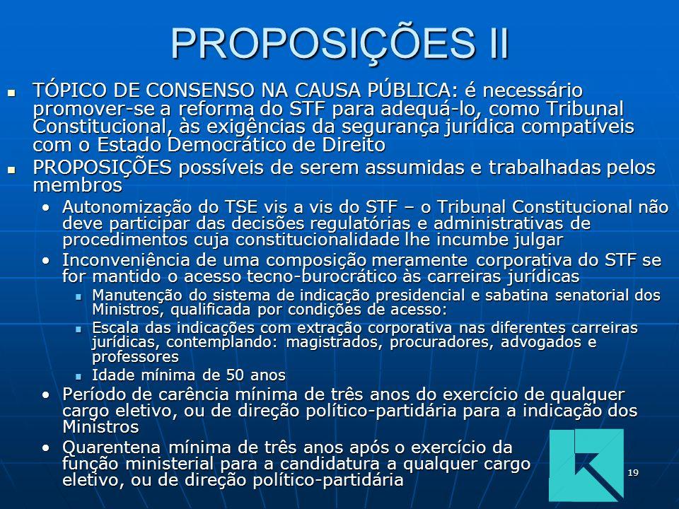 19 PROPOSIÇÕES II TÓPICO DE CONSENSO NA CAUSA PÚBLICA: é necessário promover-se a reforma do STF para adequá-lo, como Tribunal Constitucional, às exig