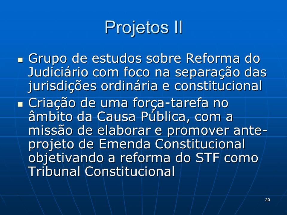20 Projetos II Grupo de estudos sobre Reforma do Judiciário com foco na separação das jurisdições ordinária e constitucional Grupo de estudos sobre Re
