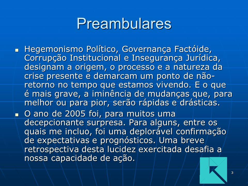 3 Preambulares Hegemonismo Político, Governança Factóide, Corrupção Institucional e Insegurança Jurídica, designam a origem, o processo e a natureza d