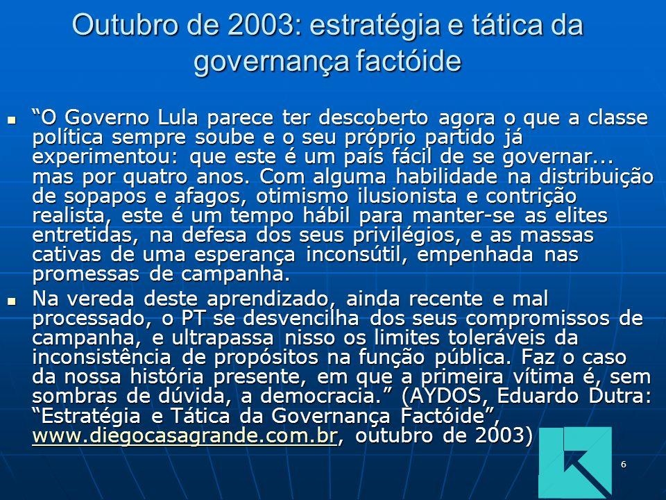 6 Outubro de 2003: estratégia e tática da governança factóide O Governo Lula parece ter descoberto agora o que a classe política sempre soube e o seu