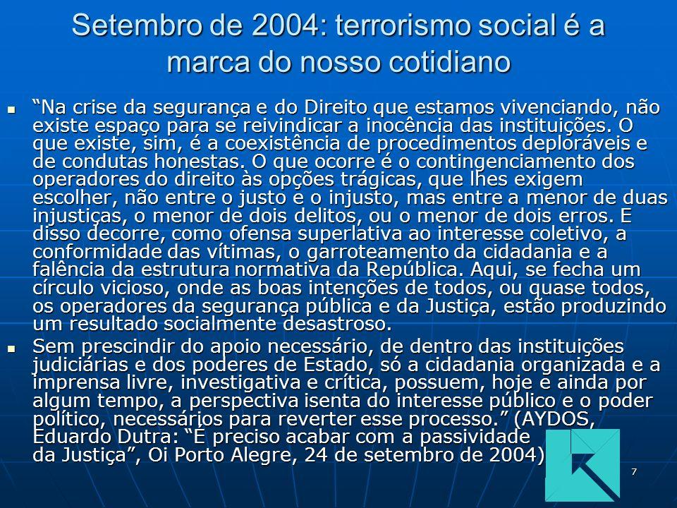 7 Setembro de 2004: terrorismo social é a marca do nosso cotidiano Na crise da segurança e do Direito que estamos vivenciando, não existe espaço para se reivindicar a inocência das instituições.