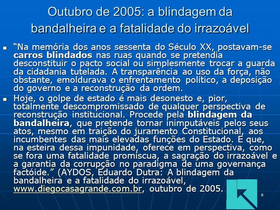 8 Outubro de 2005: a blindagem da bandalheira e a fatalidade do irrazoável Na memória dos anos sessenta do Século XX, postavam-se carros blindados nas